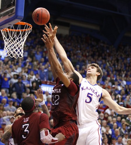 Kansas center Jeff Withey rejects a shot by Temple forward Rahlir Hollis-Jefferson with minutes remaining in the second half on Sunday, Jan. 6, 2013 at Allen Fieldhouse.