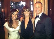 "Singer-songwriter Lisa Donnelly, a Lawrence native, is pictured with Ashley Hebert and J.P. Rosenbaum of ""The Bachelorette"" during the couple&squot;s wedding reception. Donnelly sang during the wedding ceremony, which was televised Dec. 16, 2012."