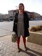 Martha Leonard, Overland Park. Clothing details: Coat, Nordstrom, four years ago, $60; dress, Anthropologie, a week ago, Christmas gift; tights, Primark in London, one and a half years ago, £2; boots, TJMaxx, three months ago, $50.