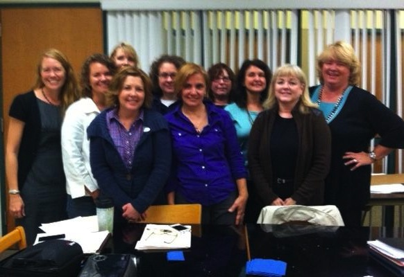 After another meeting. Kelly Evans, Kim Cullis, Nikki White, Sara Jane Russell, Marcia Epstein, Stacey Hunter Schwartz, Jane Blocher (who gracefully moved to another work group), Julie Branstrom, Elena Ivanov, and Diana Fredrick.