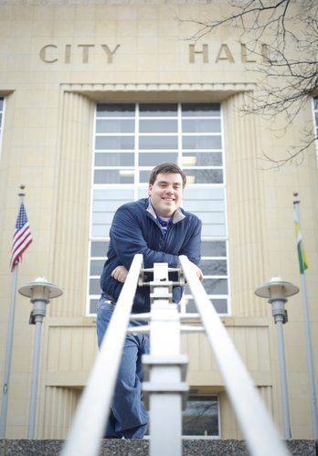 Kansas University student Matt Bevens is pictured outside City Hall in Topeka, where he is vying for a City Council seat. Bevens says he is most interested in reducing crime and improving the city's infrastructure.
