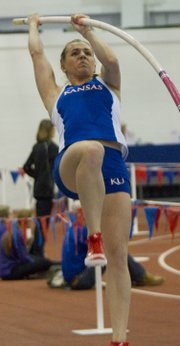 Kansas University's Natalia Bartnovskaya competes in the pole vault during the 2103 Jayhawk Challenge indoor track meet on Friday, Jan. 11, 2013, in Anschutz Pavilion on KU's campus.