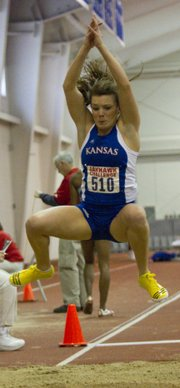 Kansas University's Andrea Geubelle competes in the long jump during the 2103 Jayhawk Challenge indoor track meet on Friday, Jan. 11, 2013, in Anschutz Pavilion on KU's campus.