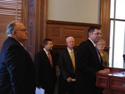 Republican legislative leaders on Monday held a news conference criticizing the court ruling that found the Legislature has shirked its constitutional duty in funding schools. From left to right are State Sen. Steve Abrams, R-Arkansas City, and chairman of the Senate Education Committee; House Majority Leader Jene Vickrey, R-Louisburg; House Speaker Ray Merrick, R-Stilwell; Senate Majority Leader Terry Bruce, R-Hutchinson, who is standing at the podium; and House Speaker Pro Tem Peggy Mast, R-Emporia.