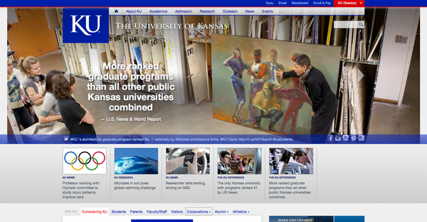 A glimpse at the new KU homepage.