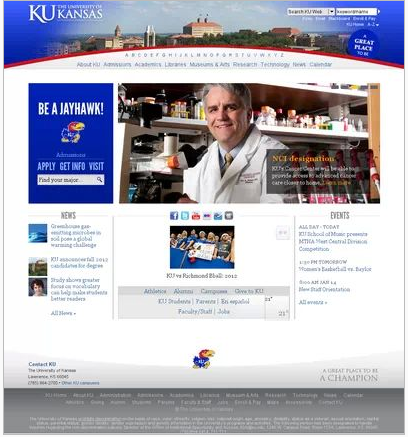 KU's old homepage, via Google.