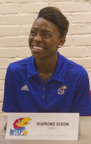 Kansas University&#39;s Diamond Dixon responds to a question during track and field media day on Thursday, Jan. 17, 2013, at Allen Fieldhouse.