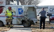 About 10 a.m. Thursday, a U.S. Postal Service truck was involved in a two-vehicle accident in North Lawrence, near the Slowride Roadhouse on North Third Street. The mail truck was heavily damaged, and the driver was transported by ambulance to Lawrence Memorial Hospital. A van ran into the back of the truck, which then sent the truck up on a curb.