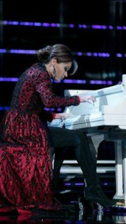 Miss Kansas, Sloane Lewis, plays piano for the talent portion of the Miss America Pageant in Las Vegas.