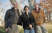 "Doug Hitt, left, Lisa Grossman and Jake Vail have collaborated on the book ""A Kansas Bestiary,"" which features essays and watercolors on 15 native Kansas animals. Proceeds from the sale of the book will go to the Kansas Land Trust."