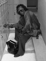 Miles at his locker