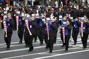 The Kansas University Trumpet Ensemble of Lawrence, Kan., performs in President Barack Obama's inaugural parade in Washington on Monday following the president's ceremonial swearing-in ceremony during the 57th Presidential Inauguration.