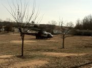 A LifeStar helicopter landed at Centennial Park and picked up a critically injured patient who was involved in an accident shortly before 1 p.m. Tuesday at Iowa Street and Harvard Road.