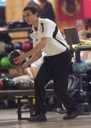 Free State senior Tyler Roste concentrates before his release during the Firebirds' quadrangular on Tuesday, Jan. 22, 2013, at Royal Crest Lanes.