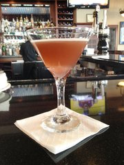 The French Kiss martini at the Jayhawker, inside the Eldridge Hotel at 701 Massachusetts St.