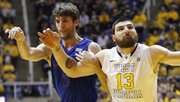 Kansas center Jeff Withey battles with West Virginia&#39;s Deniz Kilicli (13) in the Jayhawks&#39; game against the Mountaineers on Monday night in Morgantown, W.Va.