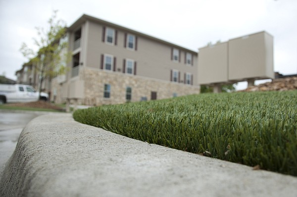 Artificial turf is pictured at the Tuckaway at Frontier Apartments on Thursday, May 5, 2011.