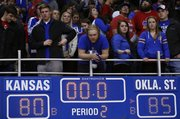 Kansas fans watch above the final score as the Jayhawks leave the court on Saturday, Feb. 2, 2013 at Allen Fieldhouse.