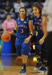 Kansas' Monica Engelman, right, encourages teammate Angel Goodrich during the Jayhawks' 89-80, double-overtime victory over Kansas State on Saturday, Feb. 2, 2013, in Manhattan.