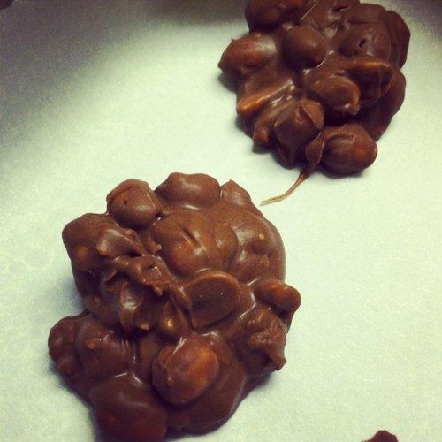 My grandma's famous peanut clusters.