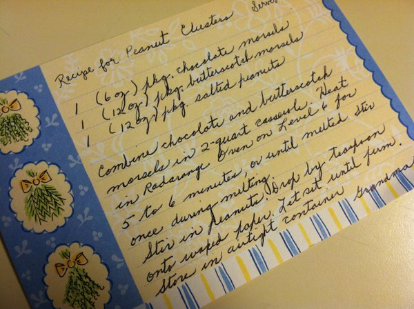 The hand-written recipe I got at my bridal shower.