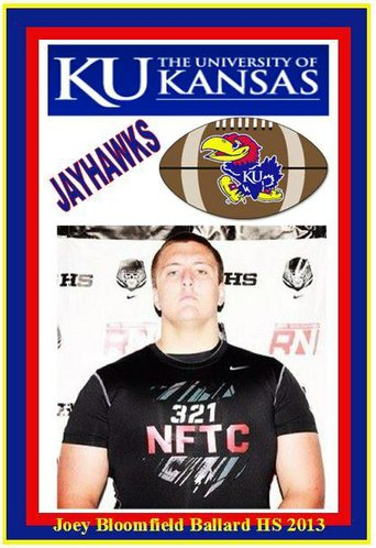 Class of 2013 offensive lineman Joey Bloomfield is expected to be among the first KU commitments to fax his letter of intent to the KU football offices.