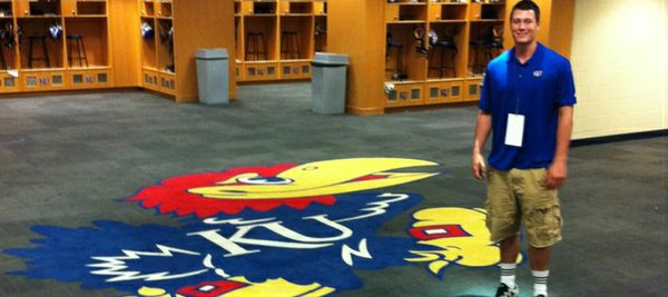 Here's new KU tight end Ben Johnson, of Basehor-Linwood High, in the Jayhawks' locker room during a recent visit.