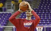 Kansas center Jeff Withey participates in the Jayhawks' shoot-around before KU's game against Texas Christian on Wednesday at TCU in Fort Worth, Texas.
