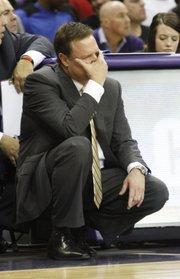 Bill Self reacts to the Jayhawks play in second-half action of the Jayhawks 62-55 loss to Texas Christian University, Wednesday at TCU in Ft. Worth, TX.