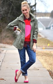 Emily wears The Movie Date. Outfit: Jacket, Forever 21; blouse, Target; sweater, Target; jeans, Gap Outlet; flats, Urban Outfitters.