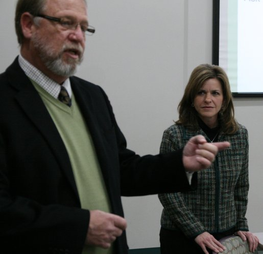 Bert Nash CEO David Johnson introduces U.S. Rep. Lynn Jenkins to members of Leadership Lawrence, who were taking the Mental Health First Aid class.