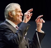 Sports writer and NPR commentator Frank Deford speaks Friday at Woodruff Auditorium at Kansas University after receiving the William Allen White Foundation National Citation.