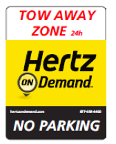 Hertz is seeking approval to place a sign like this one in downtown Lawrence for its on-demand rental car program — Photo courtesy city of Lawrence/Hertz.