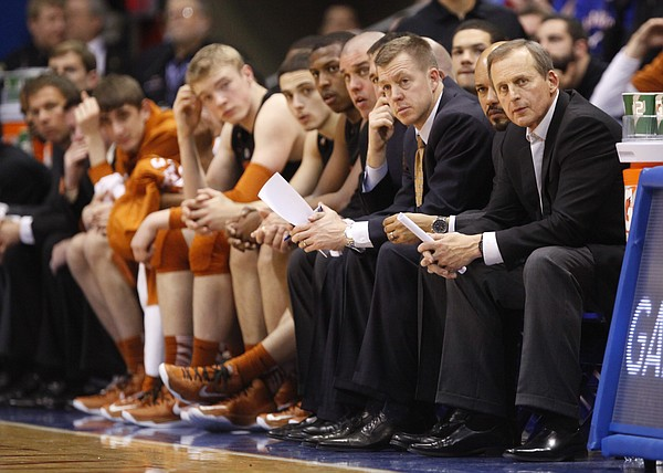 Texas head coach Rick Barnes watches from the bench with his team with little time remaining on Saturday, Feb. 16, 2013 at Allen Fieldhouse.