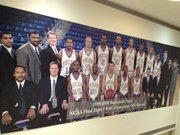 Danny Manning's former boss — Kansas coach Bill Self — is in the front row, second from left in this photo not far from the Tulsa basketball office.