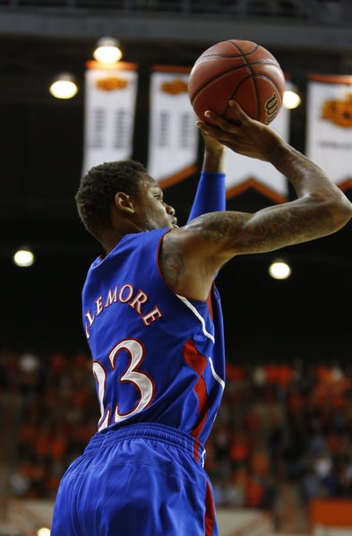 Kansas guard Ben McLemore puts up a jumper against Oklahoma State during the first half on Wednesday, Feb. 20, 2013 at Gallagher-Iba Arena in Stillwater, Oklahoma.