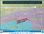 Most recent weather graphic from the National Weather Service predicts 8-10 inches of snow Monday and into Tuesday.
