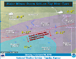 The National Weather Service predicts 10 to 12 inches of snow to blanket the Lawrence area on Monday and Tuesday. Graphic courtesy of the National Weather Service.