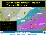 The National Weather Service predicts eight to 10 inches of snow to blanket the Lawrence area on Tuesday. Graphic courtesy of the National Weather Service.