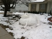 Hans Coleman, of Lawrence, created this &quot;Snowtoad.&quot;