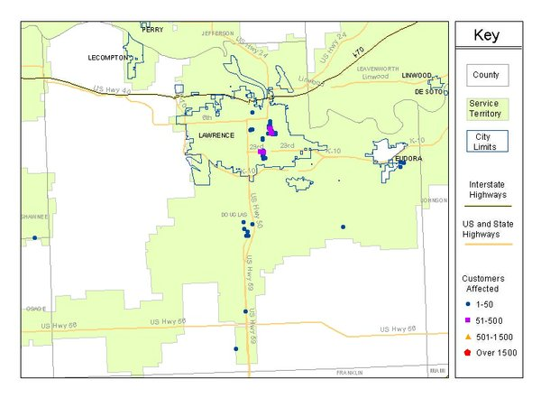 Douglas County outages map as of 4:50 a.m..