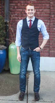 Brian Vollbracht, Grinnell. Clothing details: Shirt, Banana Republic, six months ago, $60; tie, Weavers, a year ago; vest, JC Penney, November, $30; jeans, Gap, a year ago, $60; shoes, Foxtrot, less than a year ago, $150; watch, Mark's Jewelers, was a gift from a good friend.