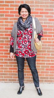 Vanessa Thomas, Lawrence. Clothing details: Scarf, Express, November, $25; long-sleeve shirt, Calvin Klein; red top, Michele Bohbot, summer 2012, $40; shoes, Etienne Aigner, don't remember when purchased, $80; jeans, Express, two years ago, $50; sweater, purchased in Minneapolis, 2010, $40; earrings, Target, August, $10; gold purse, Plato's Closet, awhile ago, about $10.