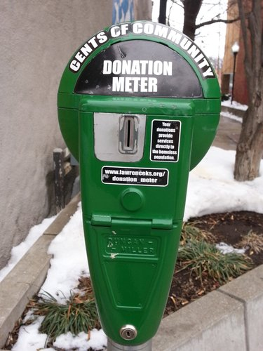 Donation Meter located on the East side of the 800 block of Massachusetts Street.