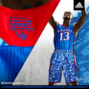 The adidas custom impact camo uniforms that the Kansas men's basketball team could wear at least one game during the Big 12 tournament in March 2013.