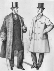 Men's wool overcoats are shown in this fashion plate from 1872.