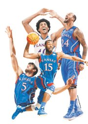 Four Kansas University seniors — Kevin Young, top left; Travis Releford (24); Elijah Johnson (15); and Jeff Withey (5) — will make their final Allen Fieldhouse appearances tonight.