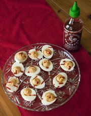 Megan's Sriracha deviled eggs are a little more devilish than the norm with the added heat of Sriracha, a Thai chili sauce.