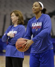 Kansas forward Carolyn Davis, right, prepares to shoot as KU coach Bonnie Henrickson oversees practice Thursday in Dallas.