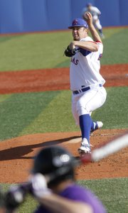 Drew Morovick delivers a pitch in Kansas baseball's home opener, against Niagara on Thursday, March, 7, 2013, at Hoglund Ballpark.